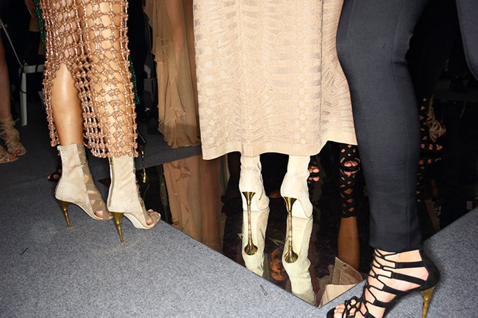 <em>Olivier Rousteing's women warriors walked tall in lace‐up sandals and powerful embellishments.</em>