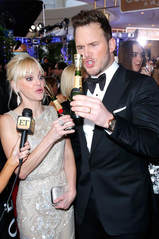 Anna Faris and Chris Pratt at the 72nd Annual Golden Globe Awards