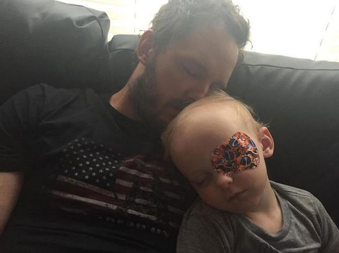 "Anna tweeted: ""My sweet brave men need to rest sometimes and also wear eyepatches for two hours every day"" <br> <br> Image: <a href=""https://twitter.com/AnnaKFaris/status/636261480808054784/photo/1"">Twitter</a>"