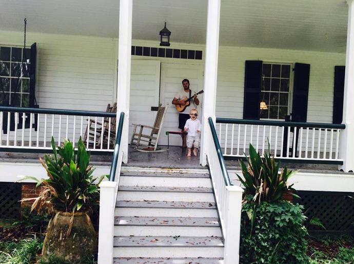 "Anna tweeted: ""Strong husband, small guitar, and pirate child"" <br> <br> Image: <a href=""https://twitter.com/AnnaKFaris/status/600047020980580352/photo/1"">Twitter</a>"