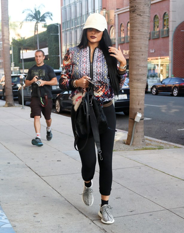 Kylie Jenner in her limited edition Yeezy Boost 350.