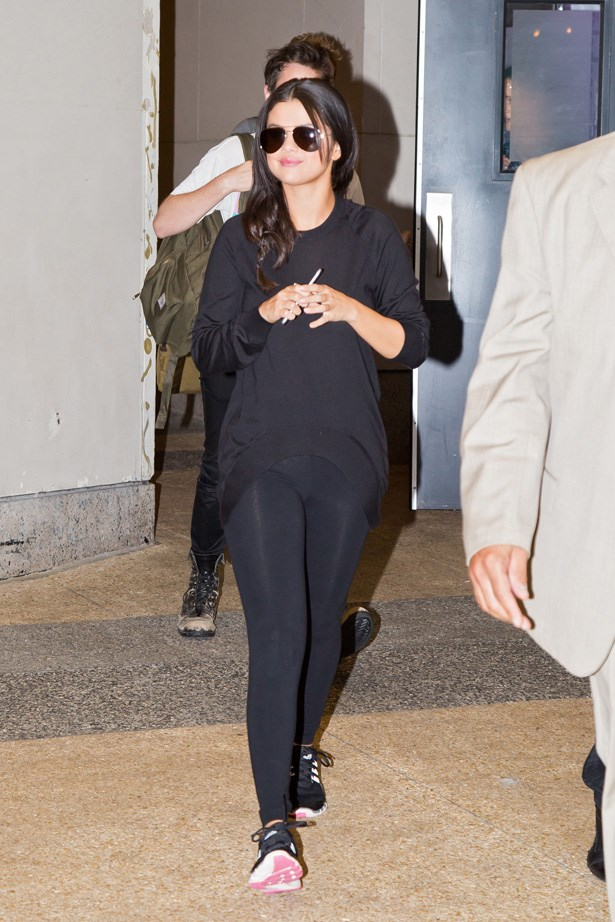 Selena Gomez wears her three stripes on her feet.