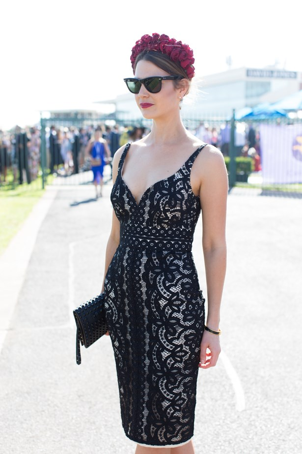 Name: Elizabeth Sattler<br><br> Outfit: Lover dress, fresh-flower-headpiece<br><br> Race day: Caulfield Cup 2015 <br><br> Location: Melbourne <br><br>
