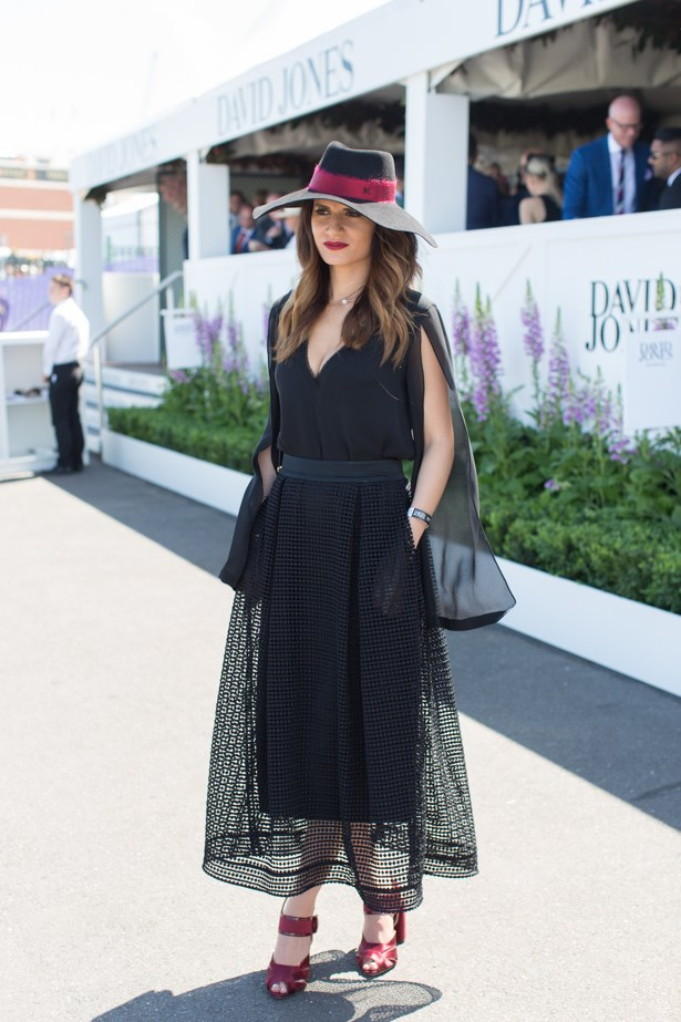 Name: Irene Nicholas<br><br> Outfit: Nicholas top and skirt, Maison Michel hat<br><br> Race day: Caulfield Cup 2015 <br><br> Location: Melbourne <br><br>