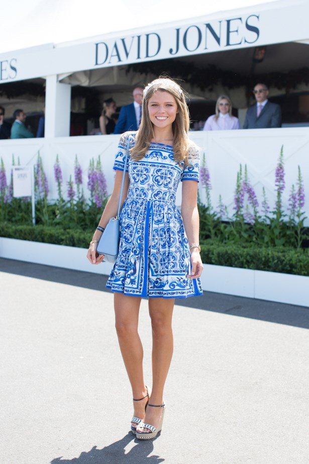 Name: Juliana Forge<br><br> Outfit: Dolce and Gabbana dress, Gucci wedges<br><br> Race day: Caulfield Cup 2015 <br><br> Location: Melbourne <br><br>