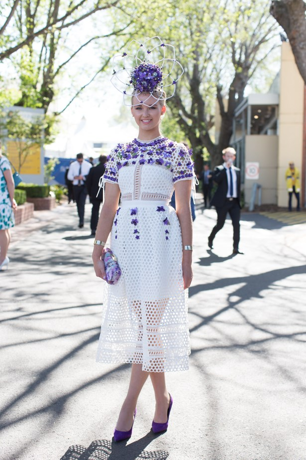 Name: Kimmi Varcoe<br><br> Outfit: Helen Mary millinery, Self Portrait dress, Olga-Berg clutch <br><br> Race day: Caulfield Cup 2015 <br><br> Location: Melbourne <br><br>