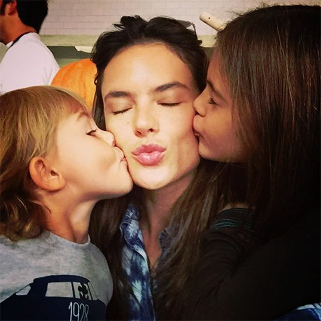 @alessandraambrosio and her children, Anja and Noah.
