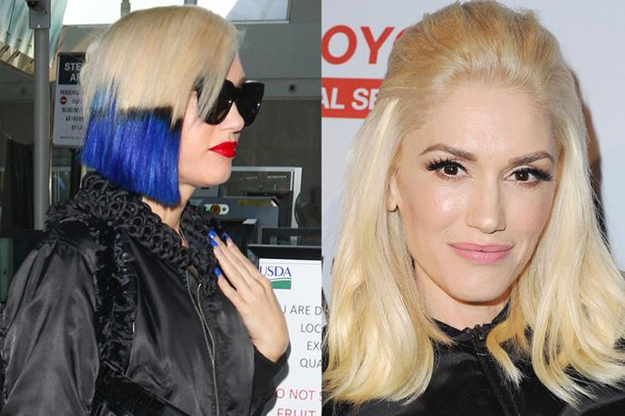 <p> <strong>Gwen Stefani</strong></p> <p>So Gwen Stefani - never one to be afraid of experimenting with her hair - has gone electric blue Ombré and we can't get enough of it! AND it matches her nails. So excellent. </p>