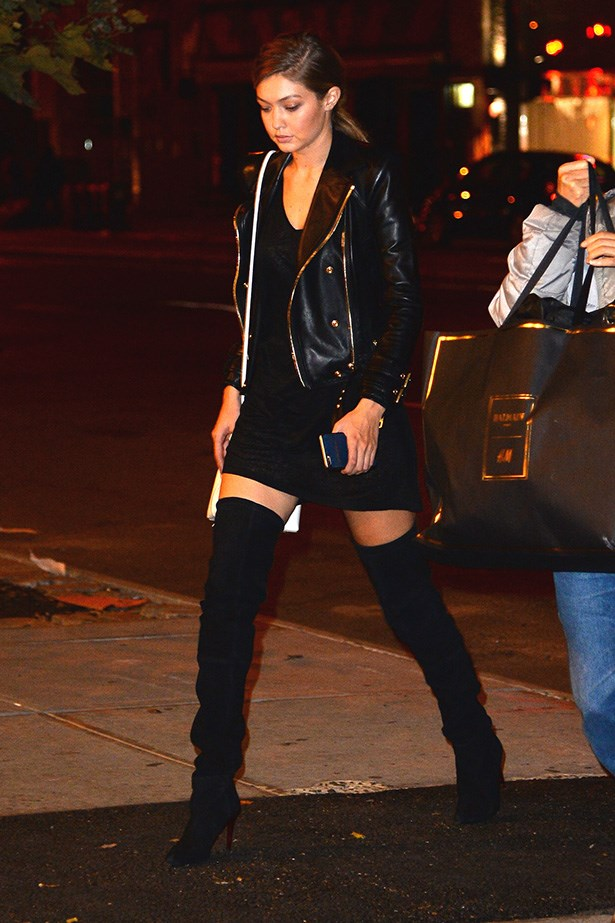 Those thigh-high boots! Jaw to the floor, right? Basically wearing those boots guarantees your outfit will be amazing. How can it not be?