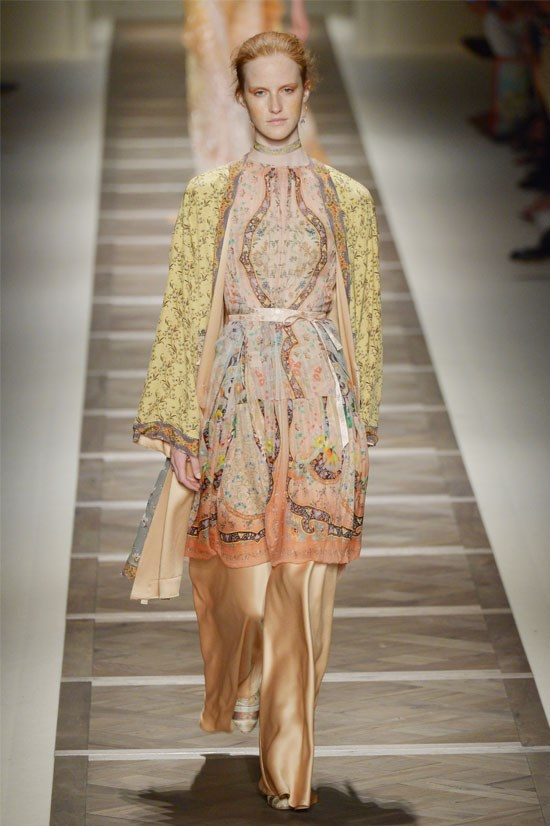 "<strong>Etro </strong>(Milan) <br> <br> ""Etro was just dreamy – pale pink hues with embellished layering made the whole show flawless. I've been thinking about this paisley kimono jacket paired with these beautiful satin wide leg pants ever since I saw it at Milan Fashion Week""."