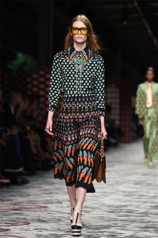"<strong>Gucci </strong>(Milan) <br> <br> ""Gucci was a stand out show for me but the styling of this look caught my eye in particular. I adore the updated western 70's style of the shirt coordinated with a printed skirt""."