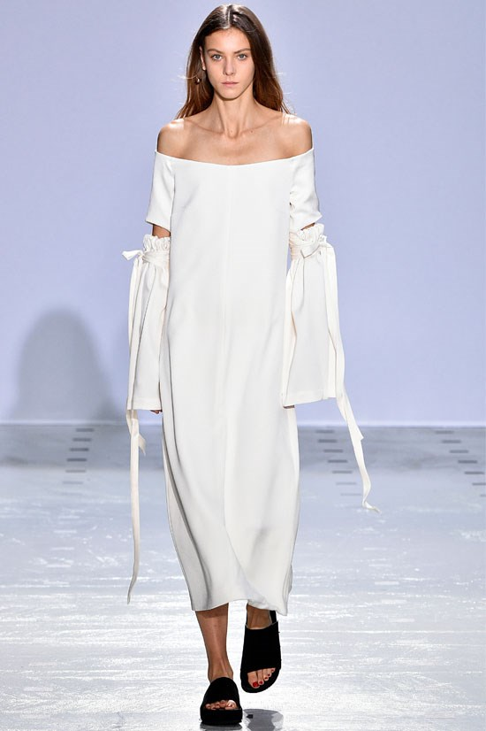 "<strong>Ellery </strong>(Paris) <br> <br> ""Marking the first official Ellery show at Paris Fashion Week, this season did not disappoint. This off the shoulder dress is bang on trend and will be a huge hit for SS16""."