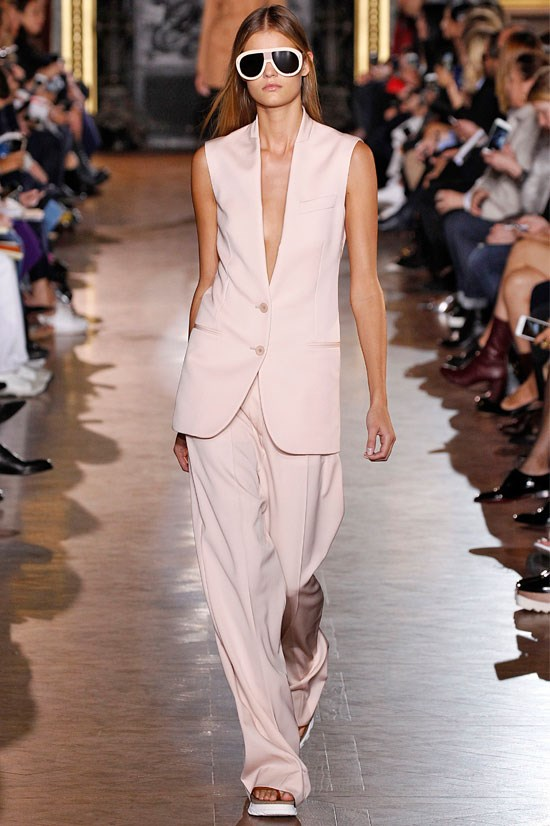 "<strong>Stella McCartney</strong> <br> <br> ""We saw lots of nudes and pastels this season and Stella McCartney did this really well. This sleeveless jacket and wide leg pant combination is such a beautiful alternative to the usual tailoring look""."