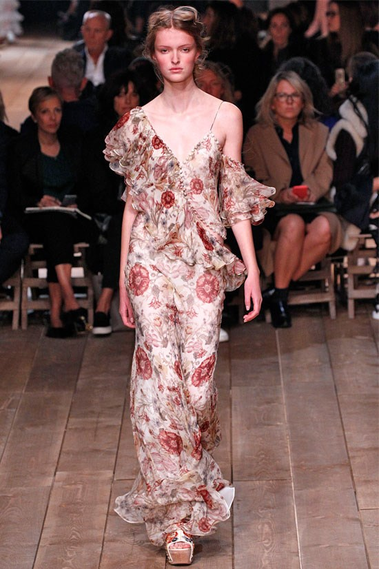 "<strong>Alexander McQueen</strong> <br> <br> ""Alexander McQueen was one of my top five favourite shows this season – this floral vintage inspired gown was so romantic and edgy; everything the brand should be and is!"""