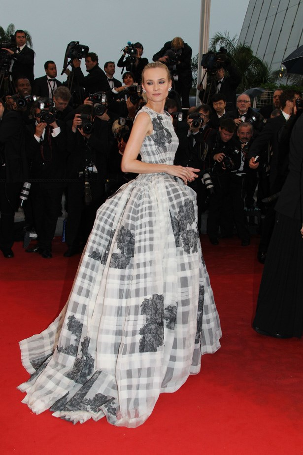 Diane Kruger made a statement on the red carpet in this Dior gown.