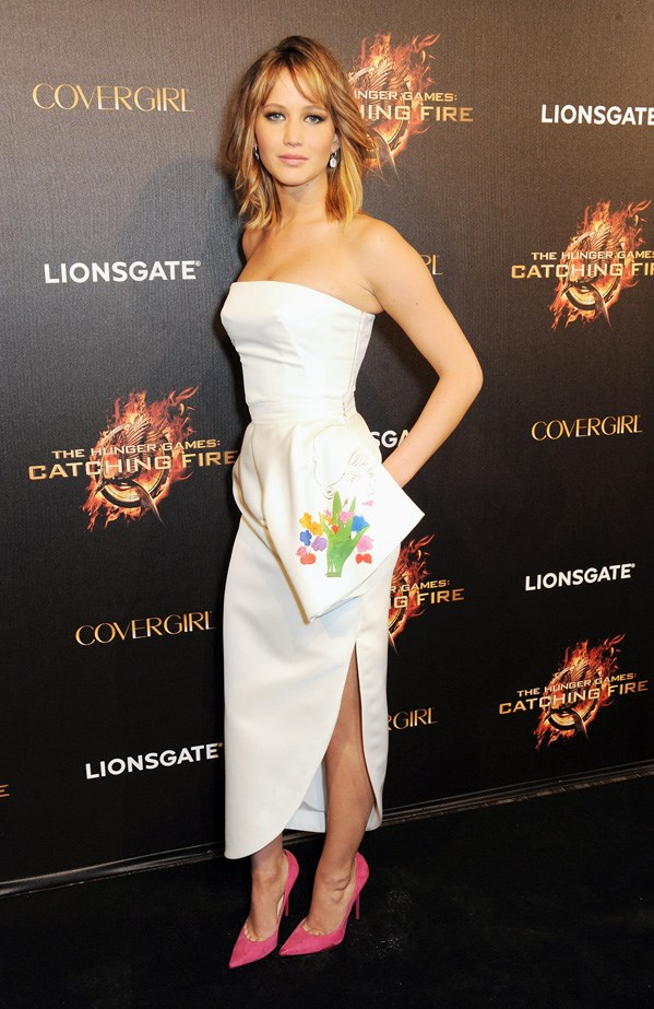 Jennifer Lawrence in one of her many Dior looks.