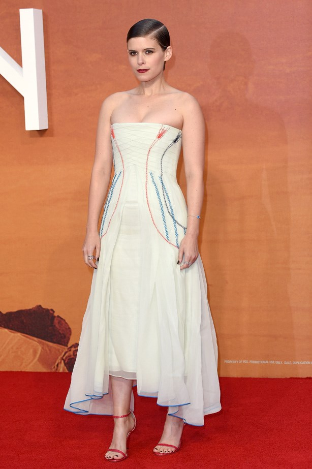 Kate Mara again in a stunning Dior bustier dress.