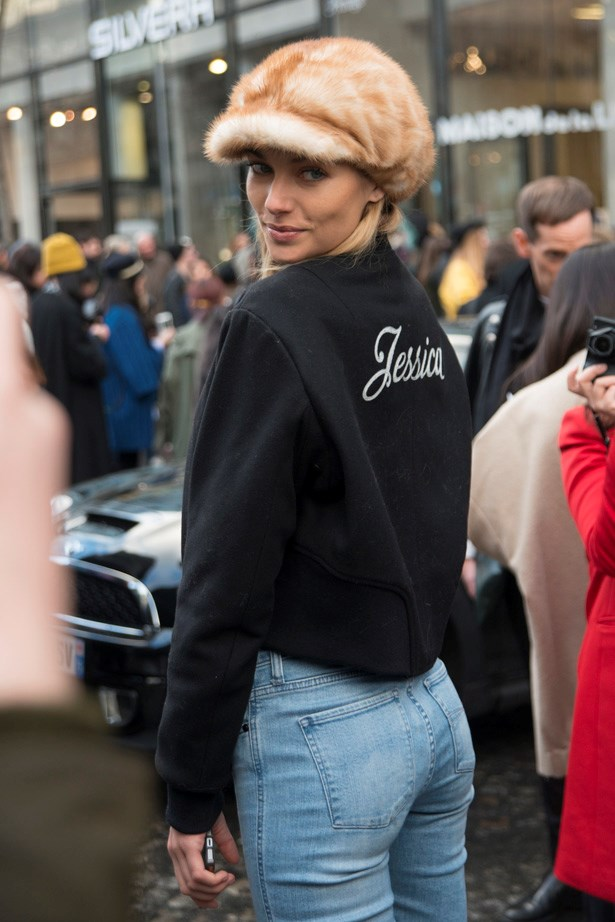 Jess Hart in her monogrammed Rag & Bone bomber jacket.