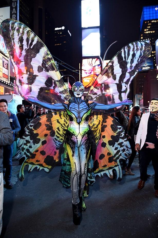 Heidi Klum as a butterfly.