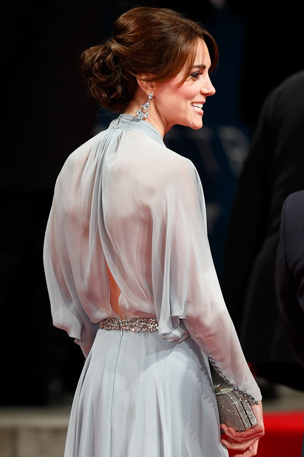 The Duchess of Cambridge nodded to the sheer dress trend in the classiest and most regal way possible in this pale blue Jenny Packham number. The Duchess is at the London premiere of the new James Bond film, Spectre, and she's totally knocking the other Bond girls out of the park.