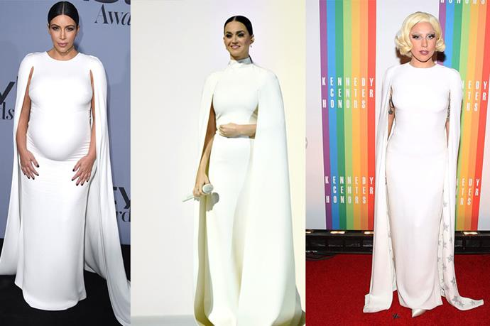 **Kim Kardashian, Katy Perry and Lady Gaga** <br><br> So this *dramatic* caped Valentino number certainly did the rounds. We've already noted that Lady Gaga and Katy Perry have worn it (so did Solange Knowles for her wedding) and now Kim Kardashian has taken it for a spin this week at the *InStyle* awards.<br><br> Basically it's the dress for everybody, though it must be said that it is certainly not one for shrinking violet types.