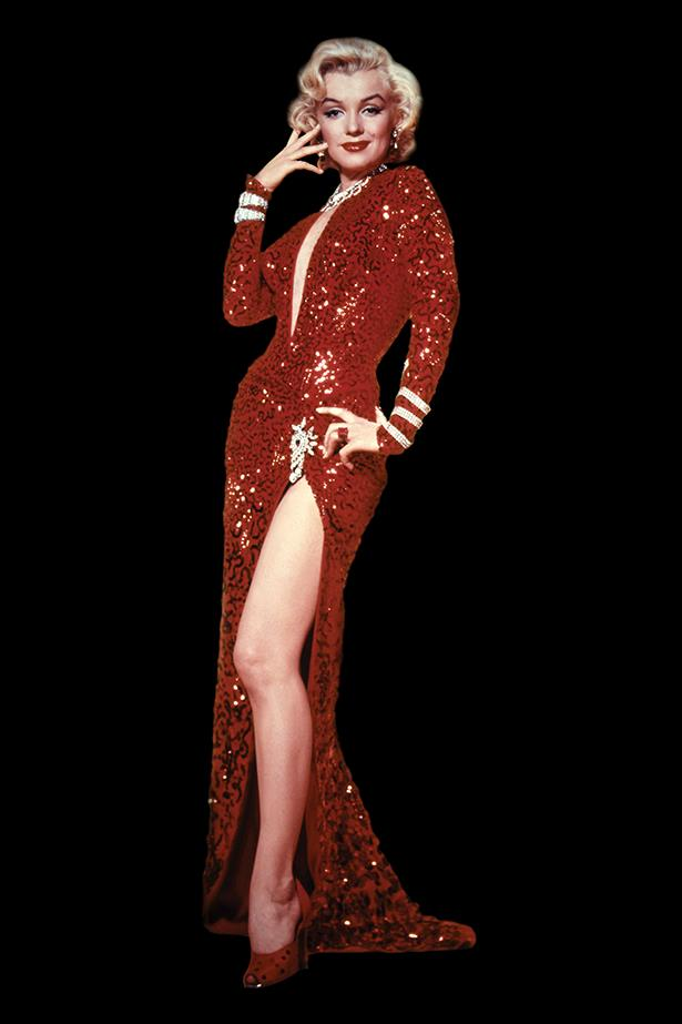 <em>Gentlemen Prefer Blondes.</em> Proving that she was the body of a century, Marilyn Monroe was practically poured into this red sequined dress.