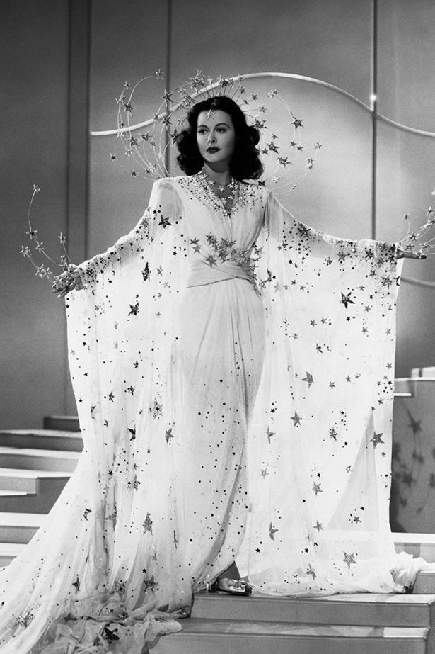 <em>Ziegfeld Girl.</em> Hedy Lamarr dazzled, quite literally, in this star-adorned dress in 1941.