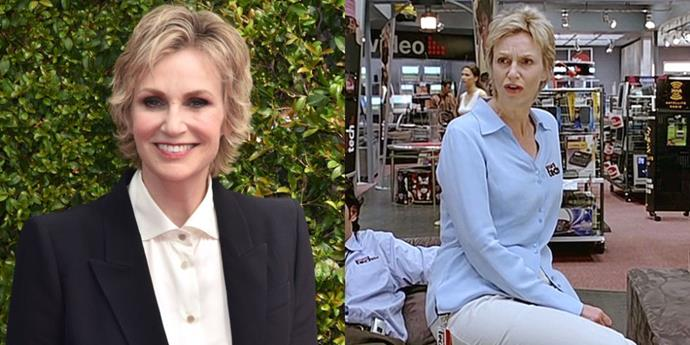 """<strong>JANE LYNCH WRESTLES SMART TECH FROM THE GAMER BROS</strong> <br> <br> Judd Apatow's 2005 comedy <em>The 40-Year-Old Virgin</em> is a male-heavy flick save for, of course, its female love interest (Catherine Keener). When actress Nancy Walls, also the wife of star Steve Carell, made that observation, the filmmakers decided to switch the role of the store manager from male to female. Jane Lynch ended up being cast as Paula, the heavy-handed boss. <a href=""""http://www.huffingtonpost.com/2013/06/07/how-i-got-the-role-in-the-marlo-thomas-mondays-with-marlo_n_3404972.html?ir=Australia"""">The actress said of the role</a>, """"Well why not? I audition for guy's stuff a lot, for authoritarian characters. They'll say, 'Oh, throw some women into the mix, and every once in a while I'll get one."""""""