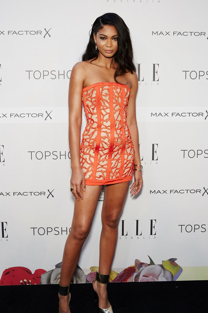 Chanel Iman arrives at the ELLE Style Awards.