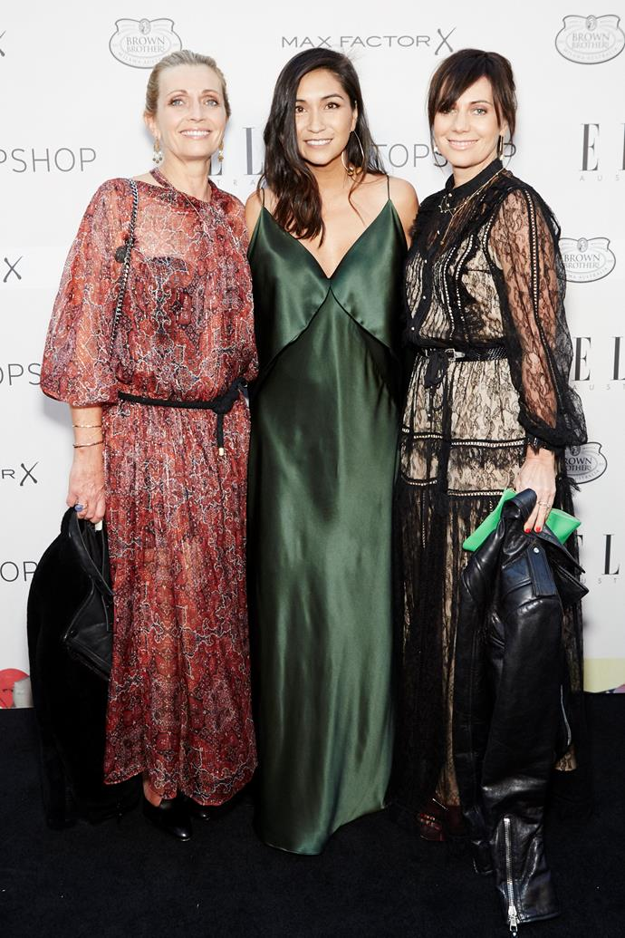 Nicky and Simone Zimmermann with ELLE editor-in-chief Justine Cullen.