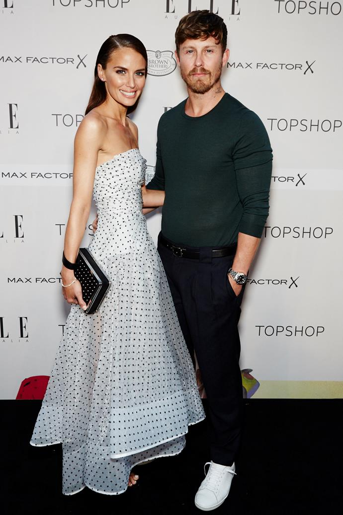 Jodi Anasta and Max May arrive at the ELLE Style Awards.