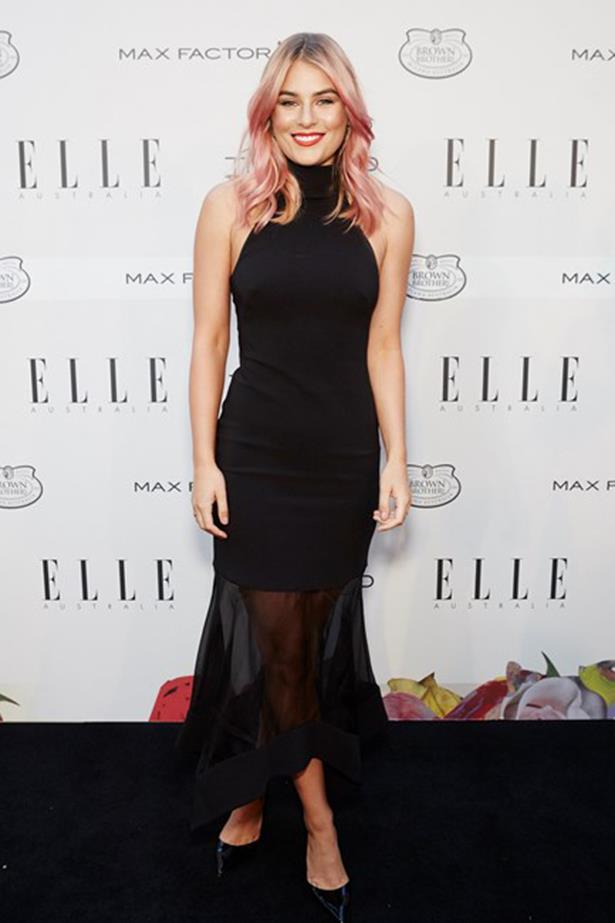 TV host Carissa Walford sporting pink locks and a Camilla & Marc dress.