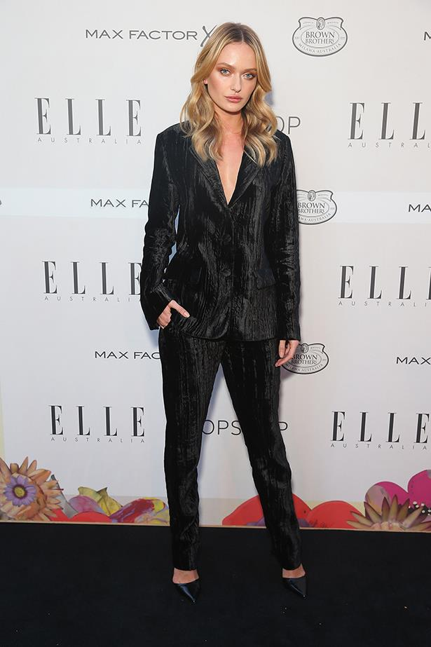 Annabella Barber looks slick in this Topshop velvet suit.