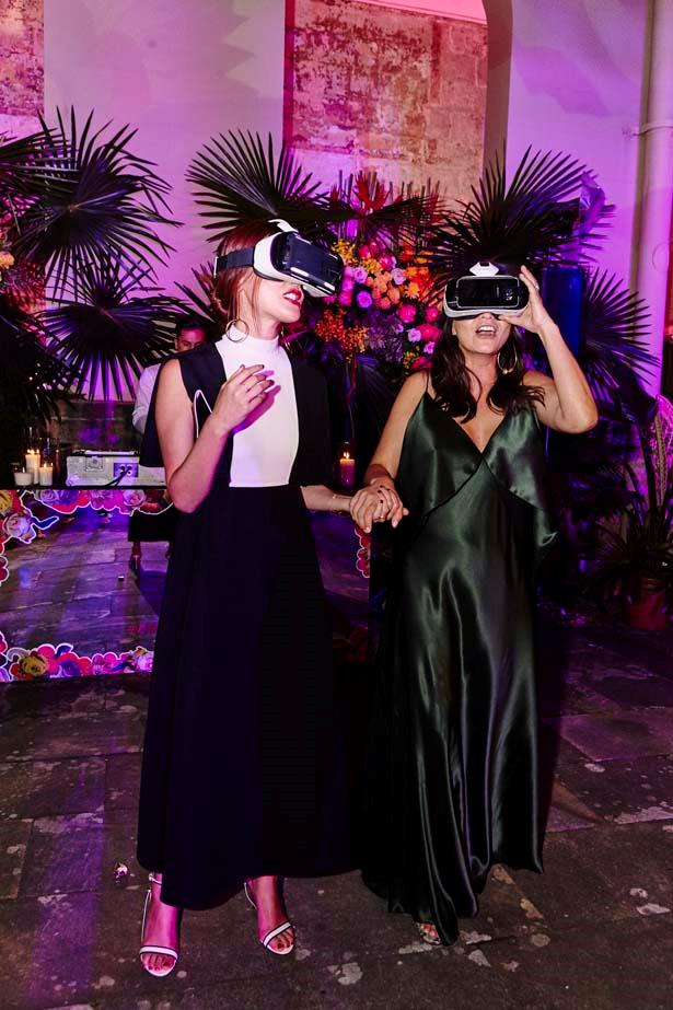 Justine Cullen and Nicole Warne enjoying the virtual reality film by Topshop.