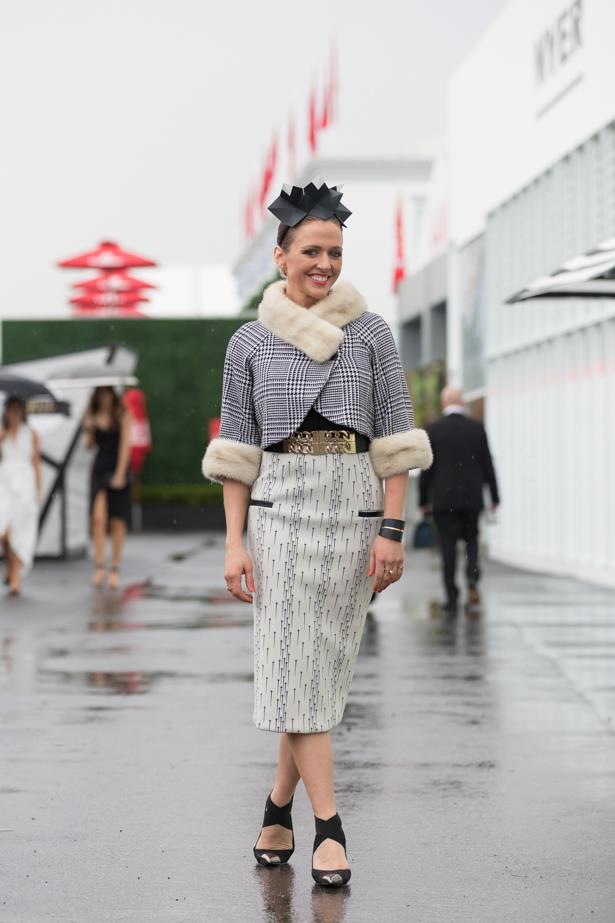 Name: Chantelle Ford @fordmillinary <br><br> Outfit: Vintage jacket, Manning Cartell skirt, Ford millinery<br><br> Race day: Derby Day 2015 <br><br> Location: Melbourne <br><br>