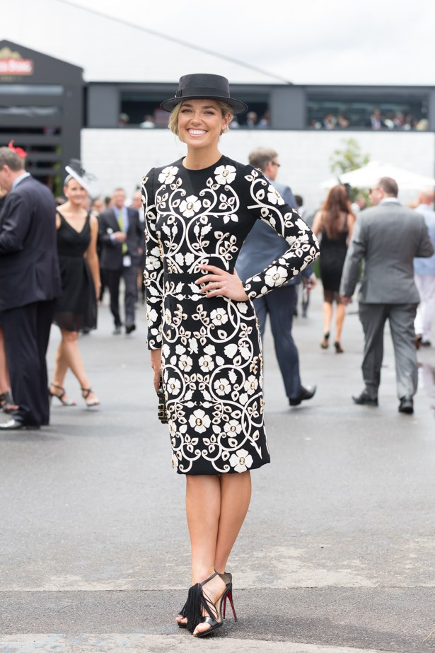 Name: Ash Hart <br><br> Outfit: Dolce & Gabanna dress, Philip Treacy hat<br><br> Race day: Derby Day 2015 <br><br> Location: Melbourne
