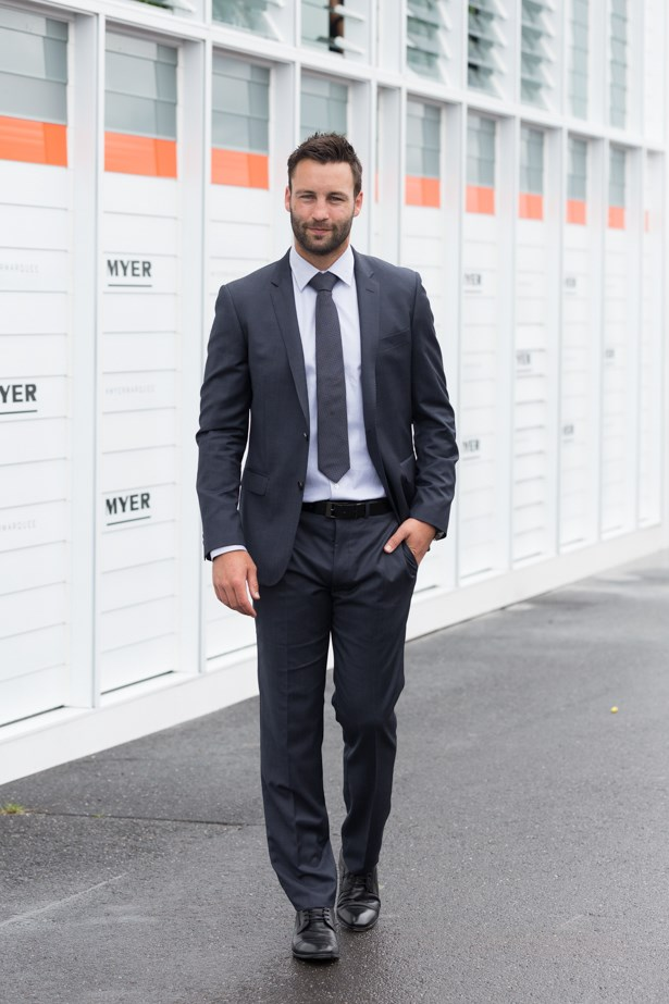 Name: Jimmy Bartel <br><br> Outfit: Rodd & Gunn suit <br><br> Race day: Derby Day 2015 <br><br> Location: Melbourne
