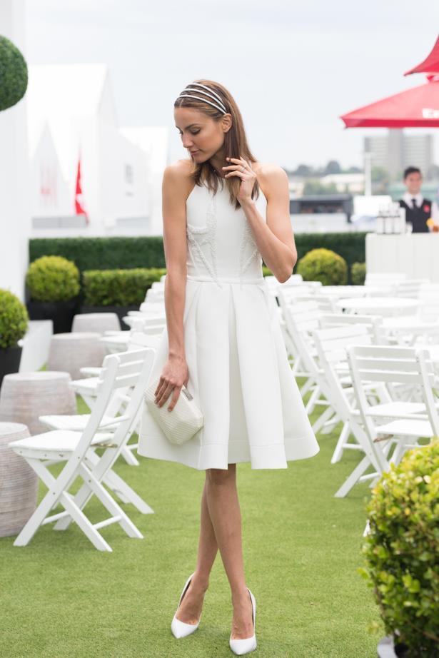 Name: Rachael Finch <br><br> Outfit: Maticevski dress, Viktoria Novak <br><br> Race day: Derby Day 2015 <br><br> Location: Melbourne <br><br>
