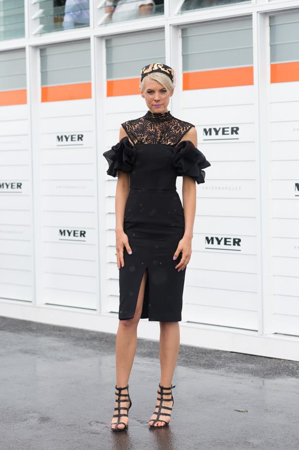 Name: Kate Peck <br><br> Outfit: White Suede dress, Philip Rhodes millinery <br><br> Race day: Derby Day 2015 <br><br> Location: Melbourne <br><br>