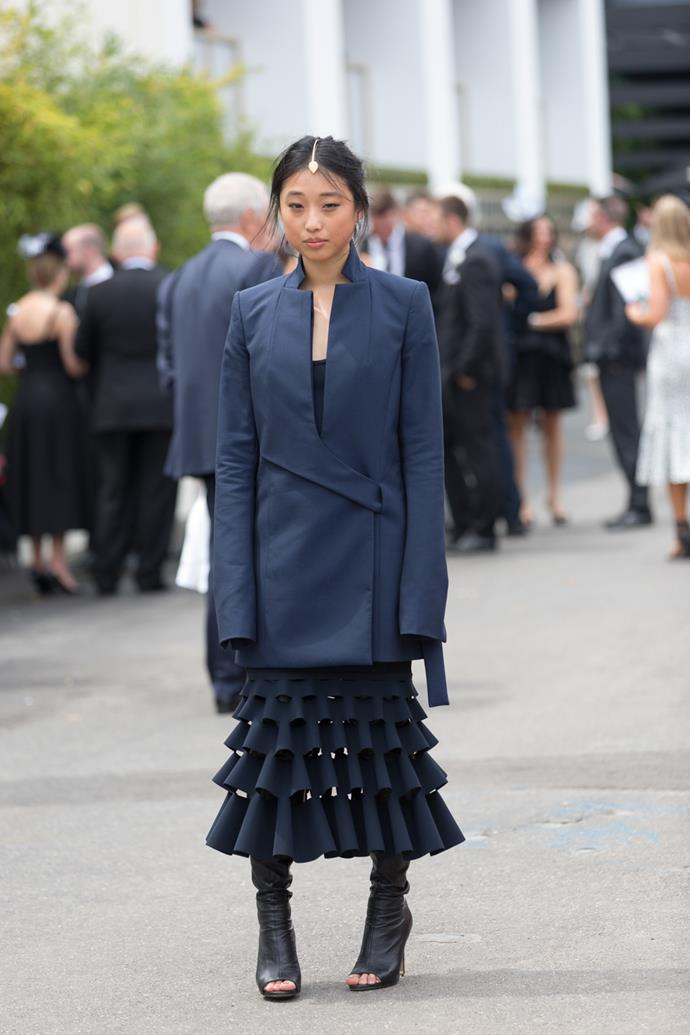 Name: Margaret Zhang <br><br> Outfit: Dion Lee jacket and dress, Tony Bianco boots Race day: Derby Day 2015 Location: Melbourne
