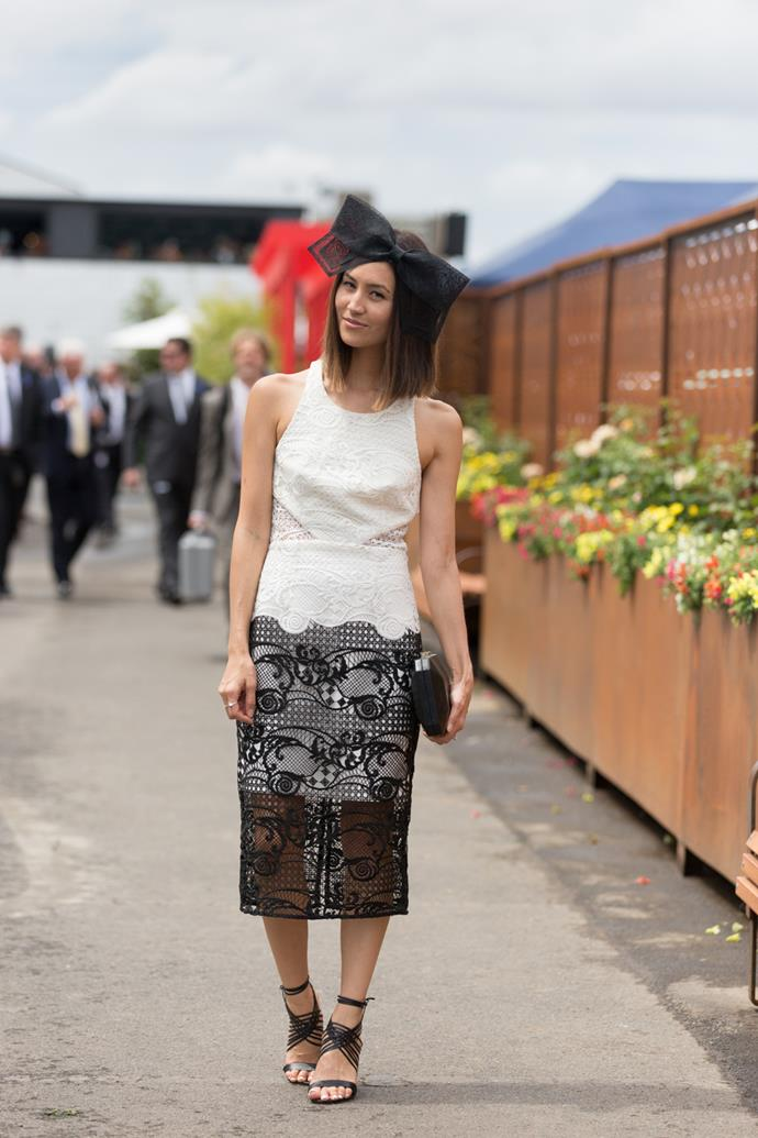 Name: Emily Highfield <br><br> Outfit: Thurley dress, Tony Bianco shoes, Studio Aniss head pieces <br><br> Race day: Derby Day 2015 <br><br> Location: Melbourne