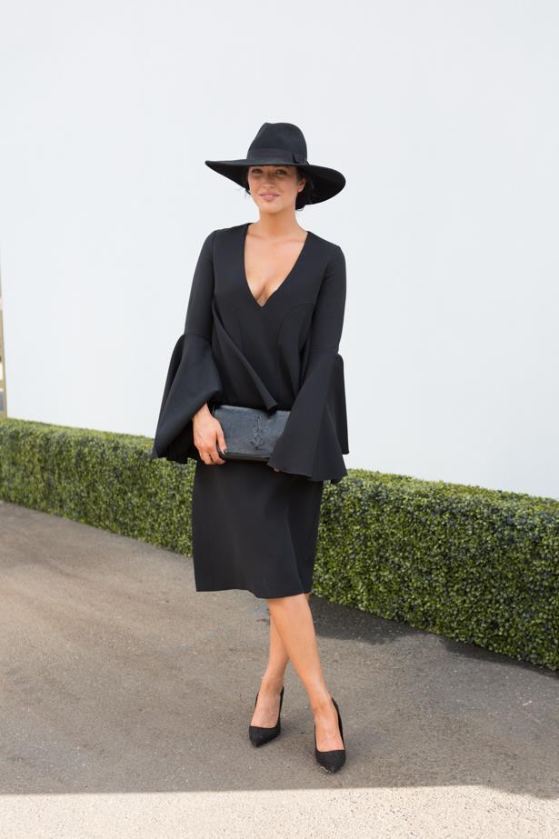 Name: Bonnie Borland<br><br> Outfit: Dress Ellery, shoes Zara, hat Lack Of Colour <br><br> Race day: Derby Day 2015 <br><br> Location: Melbourne <br><br>