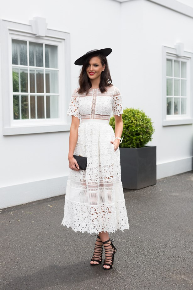 Name: Perrie Davis<br><br> Outfit: dress Mosman, millinery David Jones <br><br> Race day: Derby Day 2015 <br><br> Location: Melbourne