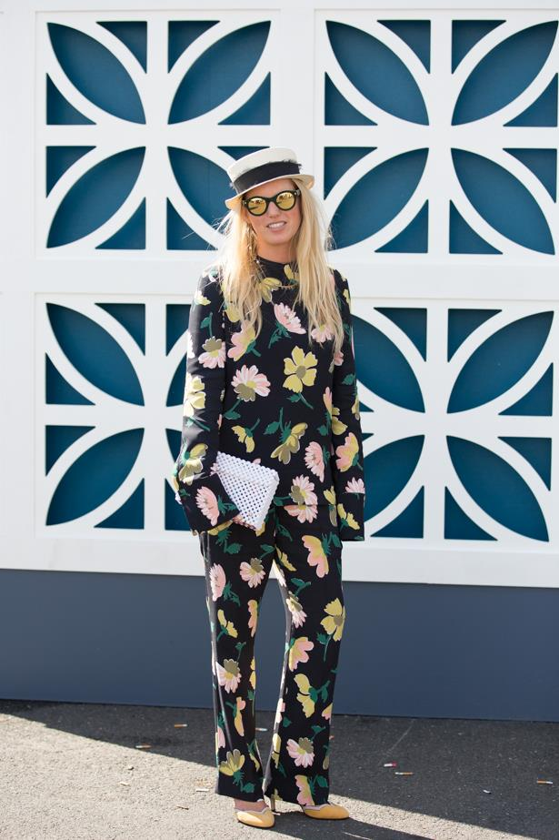 Name: Lucy Folk<br<br> Outfit: Marni top and pants, Valentino shoes, Maison michel hat, Lucy folk necklace<br><br> Race day: Derby Day 2015 <br><br> Location: Melbourne