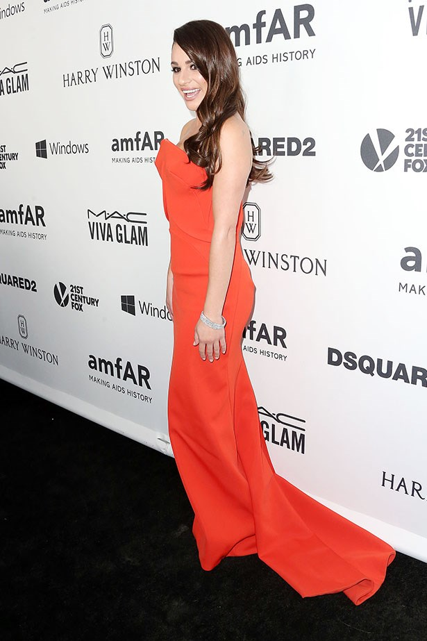 Lea Michele attends the AmfAR Inspiration Gala in LA.