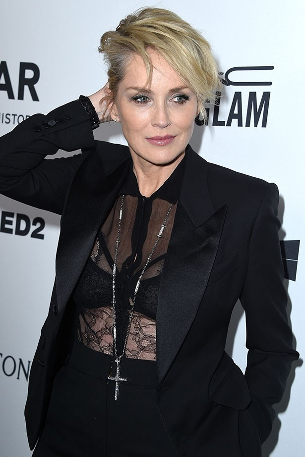 Sharon Stone attends the AmfAR Inspiration Gala in LA.