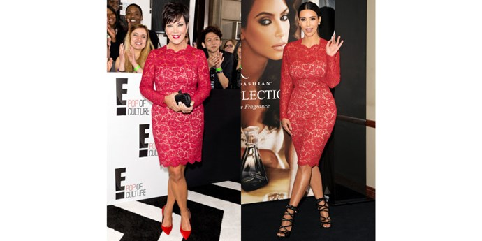 RED LACE DRESS TWINS GETTY
