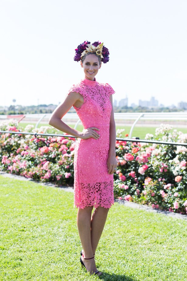 Name: Nikki Phillips <br><br> Outfit: custom Seduce dress, Viktoria Novak millinery, Myer shoes <br><br> Race day: Melbourne Cup 2015 <br><br> Location: Flemington, Melbourne <br><br>