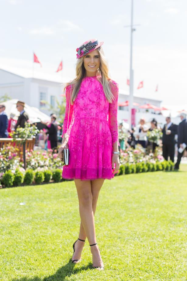 Name: Georgia Connolly<br><br> Outfit: millinery Natalie Bikicki, Alex Perry dress, Tony Bianco watch<br><br> Race day: Melbourne Cup 2015 <br><br> Location: Flemington, Melbourne <br><br>