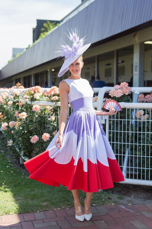 Name: Crystal Kimber<br><br> Outfit: millinery Jill & Jack, dress bespoke<br><br> Race day: Melbourne Cup 2015 <br><br> Location: Flemington, Melbourne <br><br>
